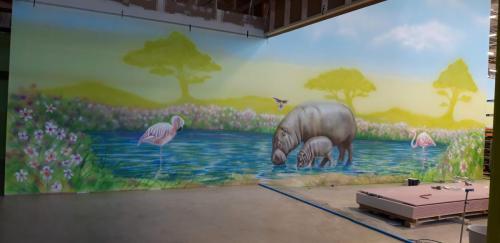 artystyczna dekoracja wnętrz - mural, landscape animals