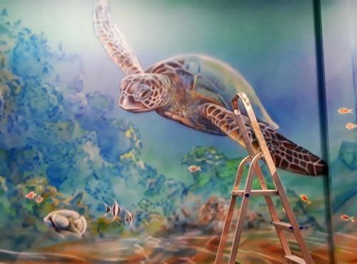 żółw mural na ścianie turtle mural on the wall,